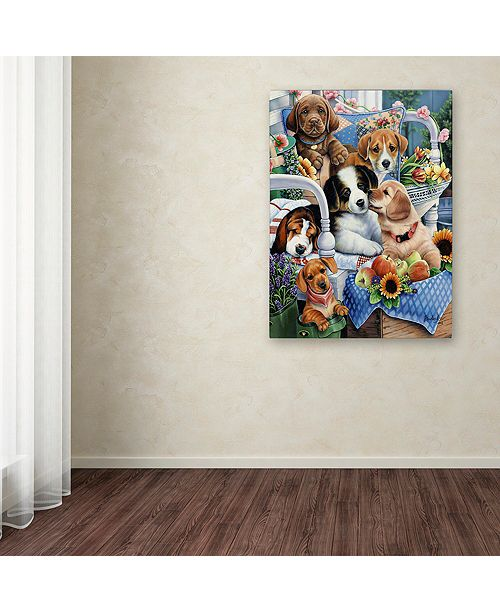 "Trademark Global Jenny Newland 'Country Pups' Canvas Art, 35"" x 47"""