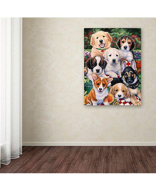 "Trademark Global Jenny Newland 'Garden Puppies' Canvas Art, 18"" x 24"""