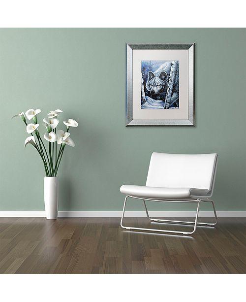 "Trademark Global Jenny Newland 'White Wolf' Matted Framed Art, 11"" x 14"""