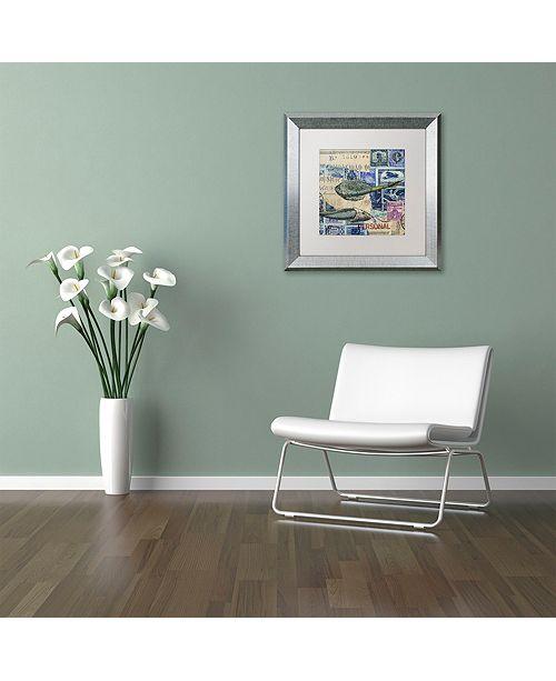 """Trademark Global Nick Bantock 'Cap Cream Blue' Matted Framed Art, 16"""" x 16"""""""