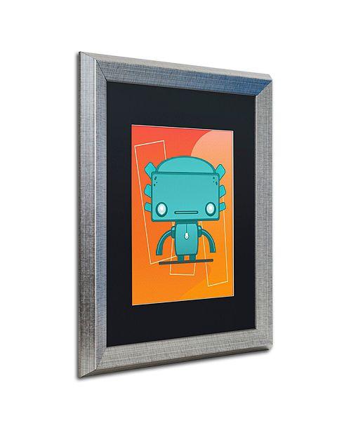 """Trademark Global Craig Snodgrass 'Retro Robot Aqua' Matted Framed Art, 16"""" x 20"""""""
