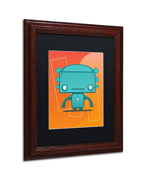 "Trademark Global Craig Snodgrass 'Retro Robot Aqua' Matted Framed Art, 11"" x 14"""