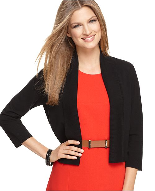 Calvin Klein Open-Front Three-Quarter-Sleeve Cardigan