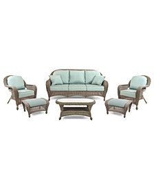 Sandy Cove Outdoor Wicker 6-Pc. Seating Set (1 Sofa, 2 Club Chairs, 2 Ottomans and 1 Coffee Table), Created for Macy's