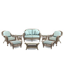 Sandy Cove Outdoor Wicker 8-Pc. Seating Set (1 Loveseat, 2 Club Chairs, 2 Ottomans, 1 Coffee Table and 2 End Tables), Created for Macy's
