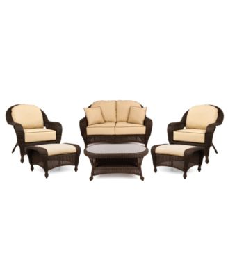 Monterey Outdoor Wicker 6-Pc. Seating Set with Sunbrella® Cushions  (1 Loveseat, 2 Club Chairs, 2 Ottomans and 1 Coffee Table), Created for Macy's