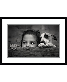 Amanti Art Girl And Puppy Framed Art Print