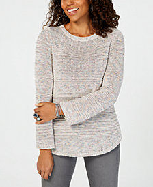 Style & Co Mixed-Stitch Crew-Neck Sweater, Created for Macy's