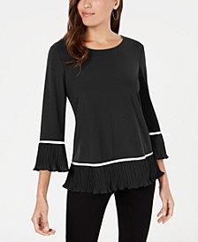 Alfani Knit Pleated-Hem Top, Created for Macy's
