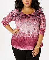 3f486e0e709 Style   Co Plus Size Printed Embellished Top