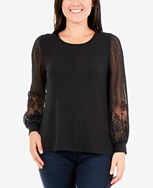 NY Collection Illusion-Sleeve Top
