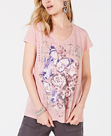Style & Co Butterfly Floral-Graphic T-Shirt, Created for Macy's