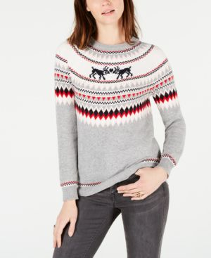 Kissing Reindeer Fair Isle Sweater, Created For Macy'S in Med Heather Grey Combo