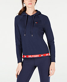 Tommy Hilfiger Logo-Trim Hooded Top