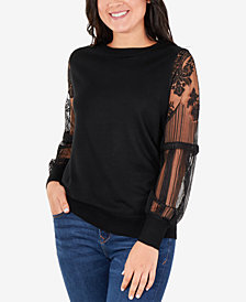 NY Collection Lace-Sleeve Sweater