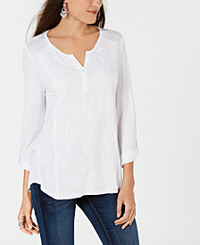Style & Co Petite Split-Neck Embroidered Tunic, Created for Macy's