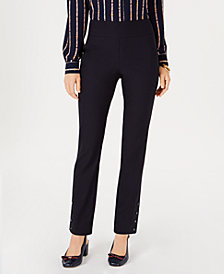 Charter Club Pull-On Ankle-Snap Slim-Fit Pants, Created for Macy's