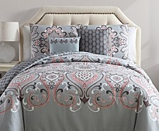 Amherst Reversible Damask 5 Piece Comforter Set, Full/Queen