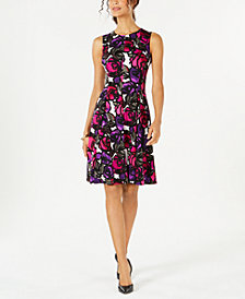 Kasper Printed Fit & Flare Dress