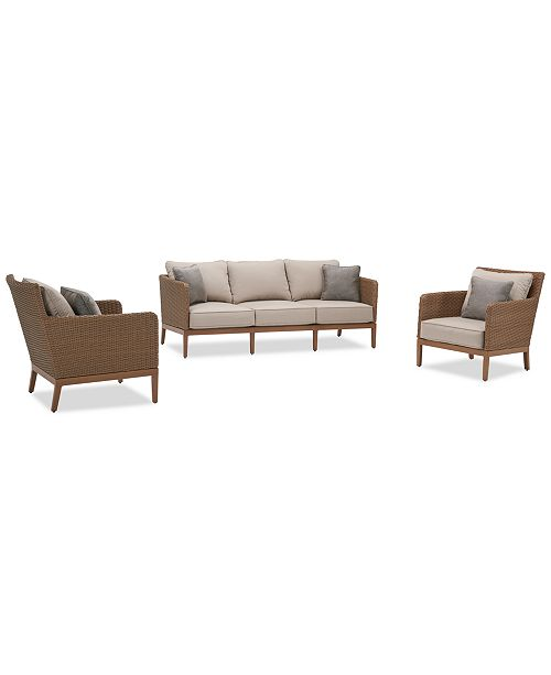Furniture San Lazzaro Outdoor Woven 3-Pc. Seating Set (1 Sofa And 2 Chairs), Created For Macy's