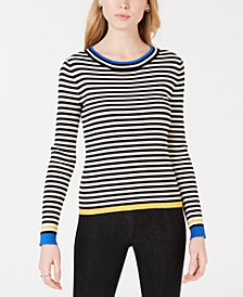 Maison Jules Striped Ribbed-Knit Sweater, Created for Macy's