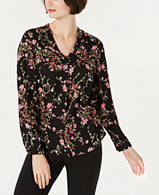 Nine West V-Neck Printed Crepe Blouse