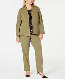 Nine West Plus Size Stretch Jacket, Skinny Pants & Printed Top