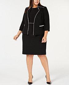 Kasper Plus Size Piped Jacket & Sheath Dress