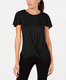 Alfani Flutter-Sleeve Twist-Front Top, Created for Macy's