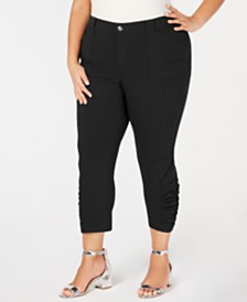 I.N.C. Plus & Petite Plus Ruched-Hem Cropped Pants, Created for Macy's