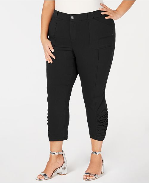 INC International Concepts INC Plus & Petite Plus Ruched-Hem Cropped Pants, Created for Macy's
