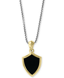 "EFFY® Black Agate Two-Tone Shield Pendant Necklace in Sterling Silver and 18k Gold-Plate, 20"" + 2"" extender"