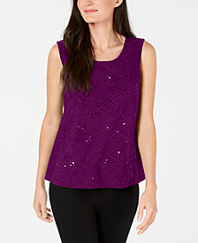 JM Collection Petite Sequined Jacquard Shell, Created for Macy's