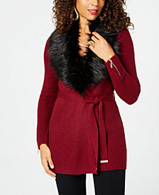 Thalia Sodi Faux-Fur Wrap Cardigan, Created for Macy's