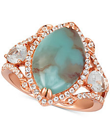 Le Vian® Sky Aquaprase (15 x 10mm) & White Topaz (1-1/6 ct. t.w.) Statement Ring in 14k Rose Gold, Created for Macy's