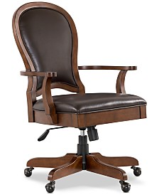 Clinton Hill Cherry Leather Desk Chair, Created for Macy's