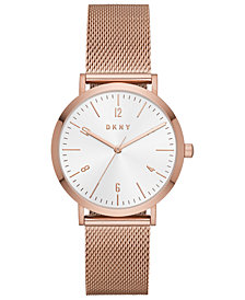 DKNY Women's Minetta Rose Gold-Tone Stainless Steel Mesh Bracelet Watch 36mm, Created For Macy's