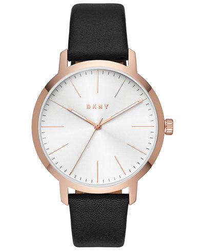 DKNY Men's Modernist Black Leather Strap Watch 44mm
