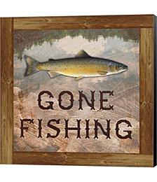 Gone Fishing Salmon Sign by Veruca Salt Canvas Art