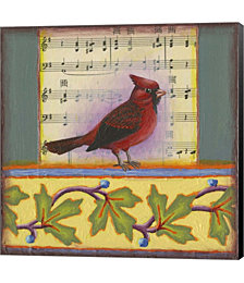 Cardinal on Music Notes 1 by Rachel Paxton Canvas Art