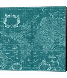 Blueprint World Map, teal by Color Me Happy Canvas Art