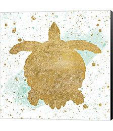 Silver Sea Life Aqua Turtle by Wild Apple Portfolio Canvas Art