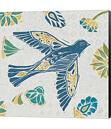 Nordic Woodcut Bird IVF by Daphne Brissonnet Canvas Art