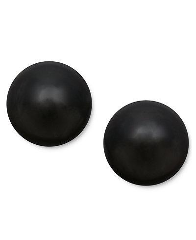 14k Gold Earrings, Onyx Ball Stud Earrings (8mm)