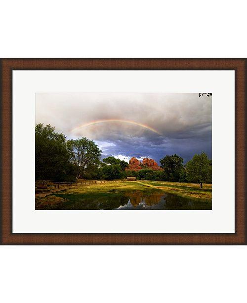 Metaverse Catherdral Rock Rain by Tom Brossart Framed Art