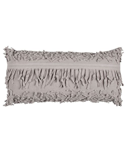 """Rizzy Home Textured 14"""" x 26"""" Pillow with Fringe Poly Filled"""