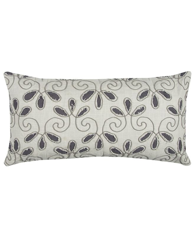 """Rizzy Home 14"""" x 26"""" Floral Poly Filled Pillow"""