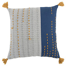 "Rizzy Home Blue 20"" X 20"" Striped Poly Filled Pillow"