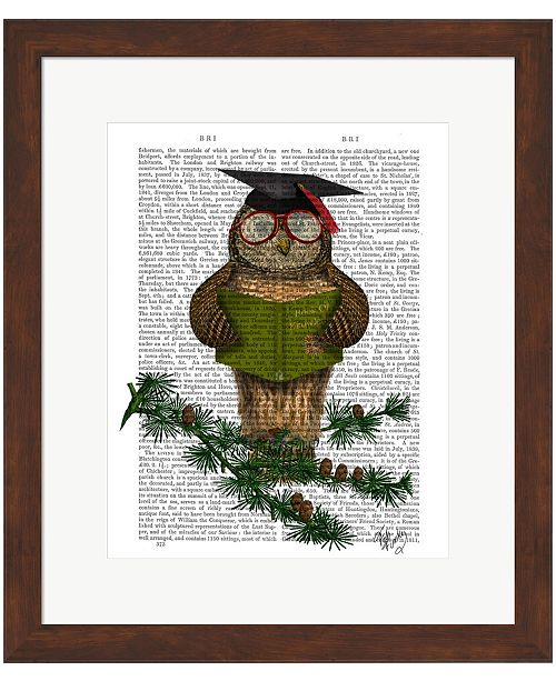 Metaverse Owl Reading On Branc by Fab Funky Framed Art