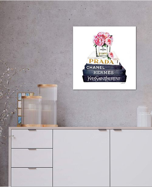 """iCanvas """"Stack Of Fashion Books With Pink Peonies"""" by Amanda Greenwood Gallery-Wrapped Canvas Print"""